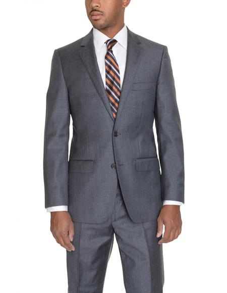 Mens 2 Button Solid Heather Gray Wool Single Breasted Notch Lapel Suit
