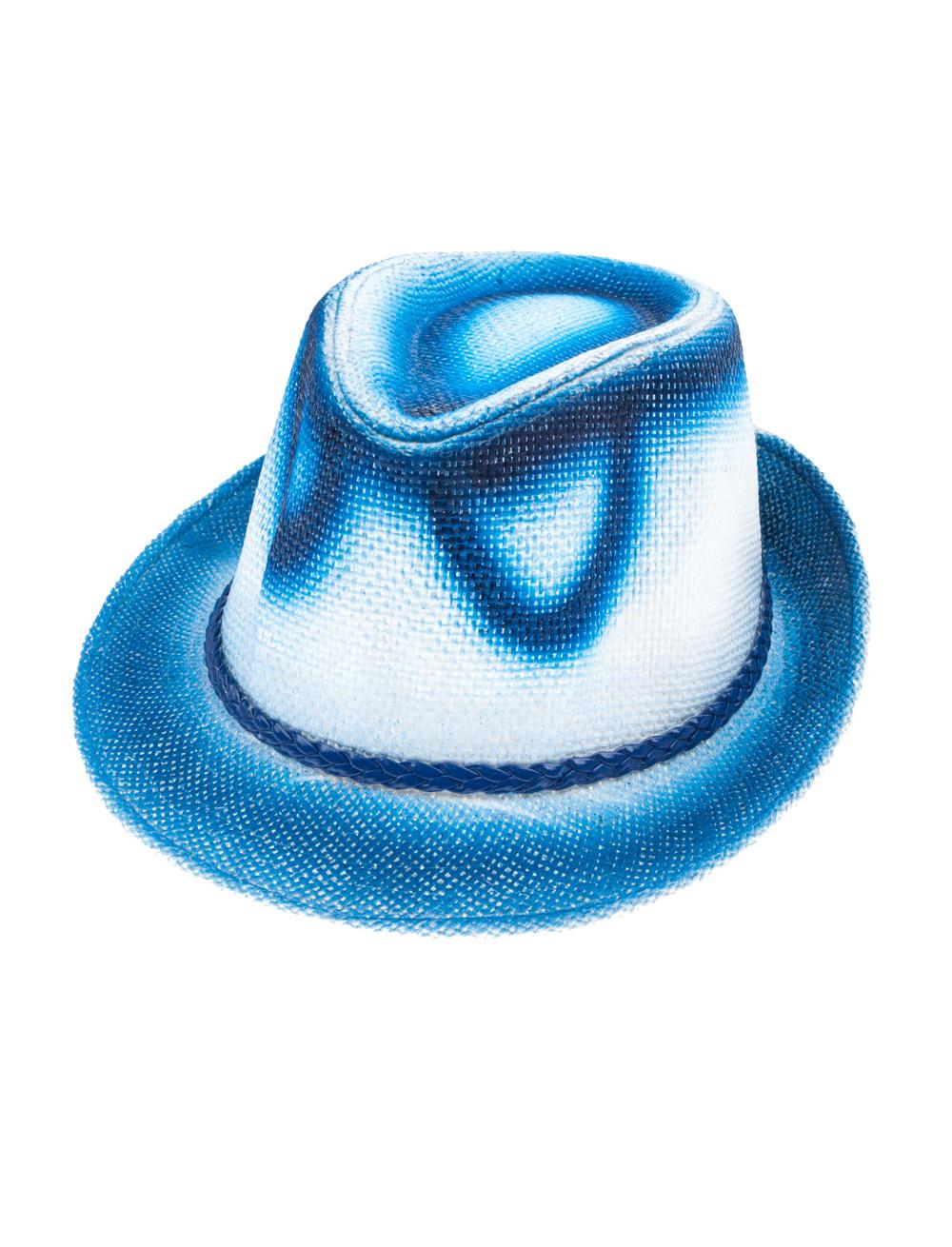 Kostuemzubehor Gangsterhut blau/weiss