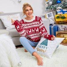 Pullover mit sehr tief angesetzter Schulterpartie und Weihnachten Muster