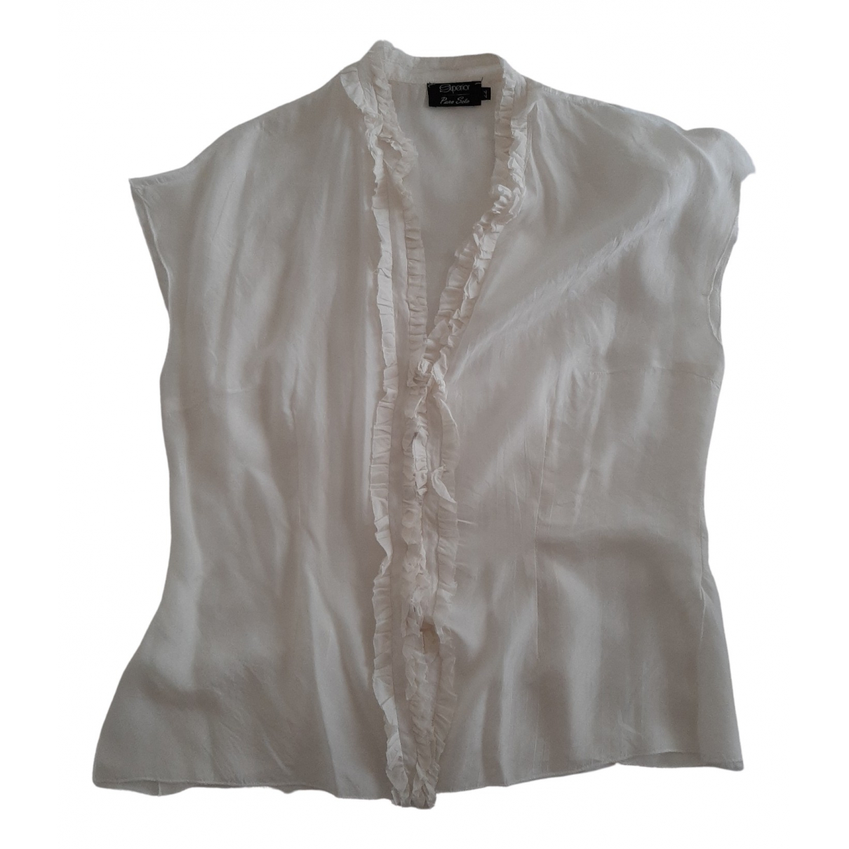 Non Signé / Unsigned \N White Silk  top for Women 44 FR