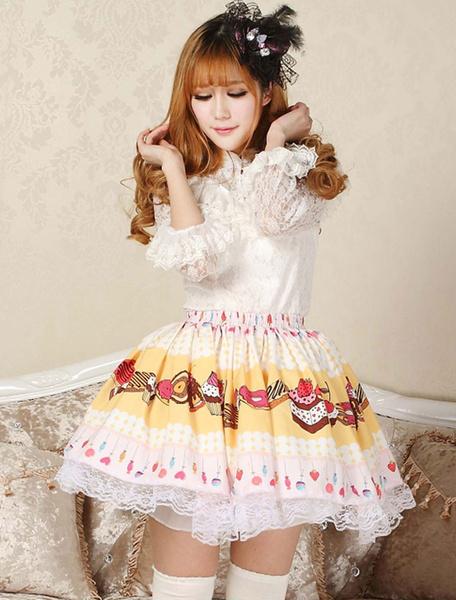 Milanoo Sweet Yellow Pink Lolita Short Skirt Lace Trim Cake Biscuit Print