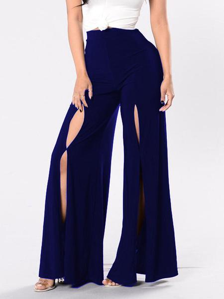 Milanoo Women Pants Black High Split Front Polyester Cotton Raised Waist Casual Wide Leg Pants