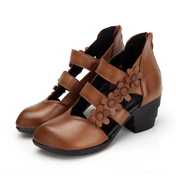 SOCOFY Retro Splicing Flower Hollow Out Zipper Ankle Leather Sandals