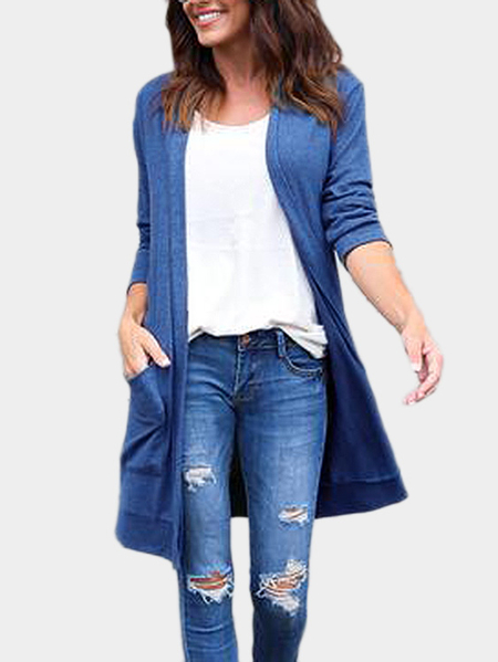 Yoins Blue Two Large Pockets Long Sleeves Causal Cardigan