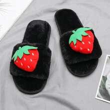 Strawberry Decor Open Toe Fluffy Slippers