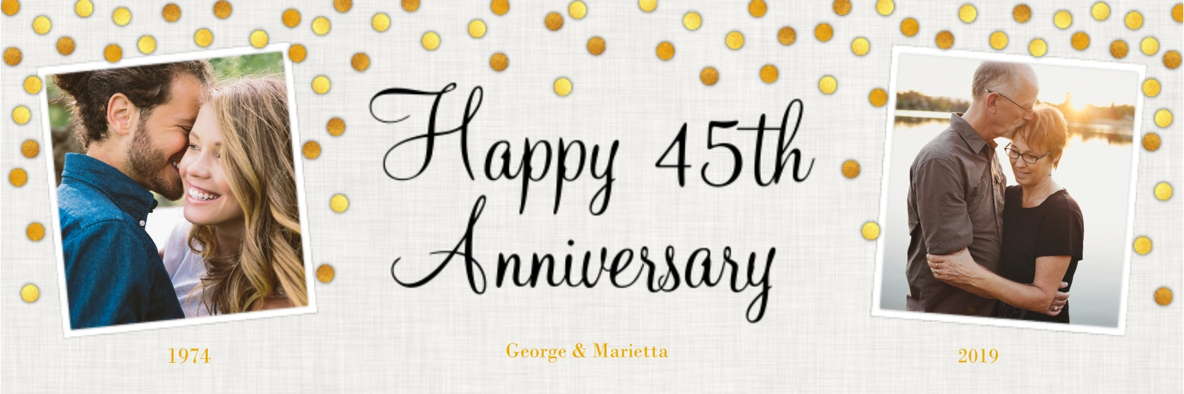 Anniversary 1x3 Adhesive Banner, Home Décor -Gold Anniversary