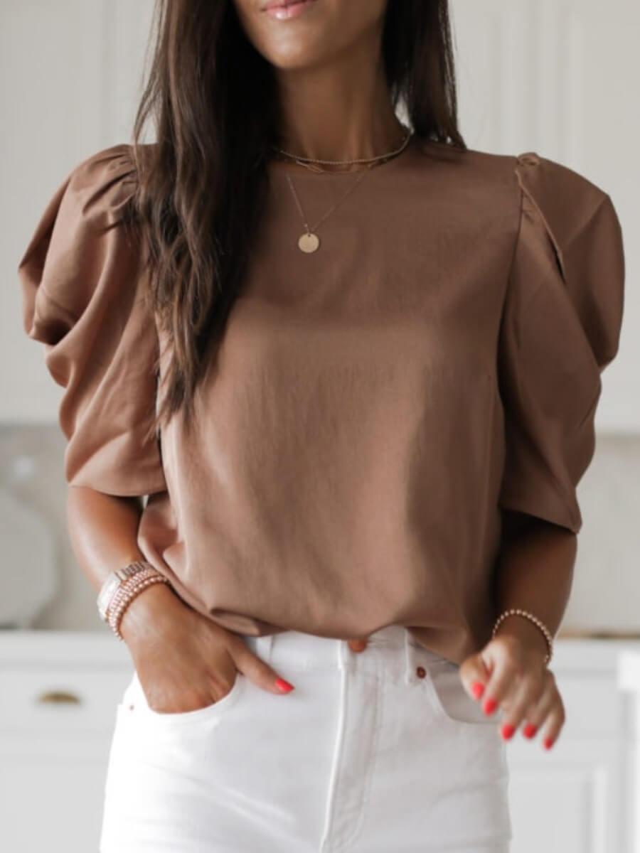 LW Lovely Casual O Neck Fold Design Light Tan Blouse