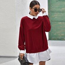 2 In 1 Pullover mit sehr tief angesetzter Schulterpartie, Kontrast Kragen und Rueschenbesatz