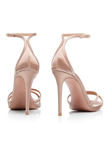 Milanoo High Heel Sandals Womens Satin Open Toe Ankle Strap Stiletto Heel Sandals