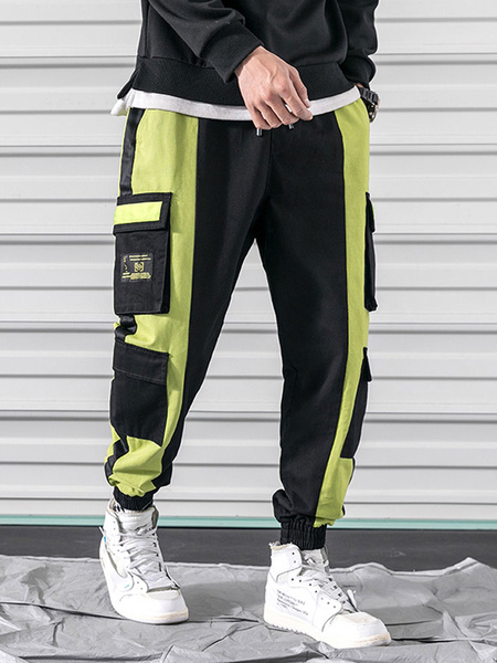 Milanoo Men\'s Trousers Casual Natural Waist Straight Cargo Pant Khaki Men\'s Pants