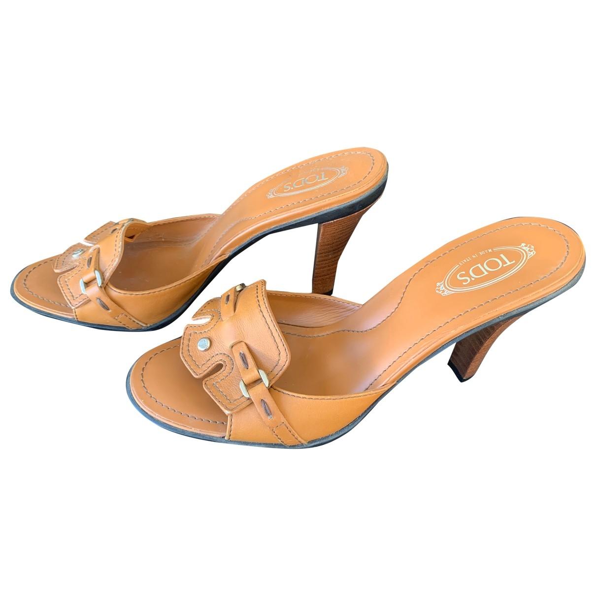 Tods - Sandales   pour femme en cuir - camel