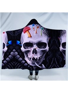 Skull and Coloured Mushroom Printing Polyester Hooded Blanket