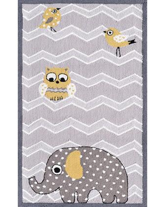 71166B 2.8 x 4.8 ft. Elephant and Bird Area Rug  in