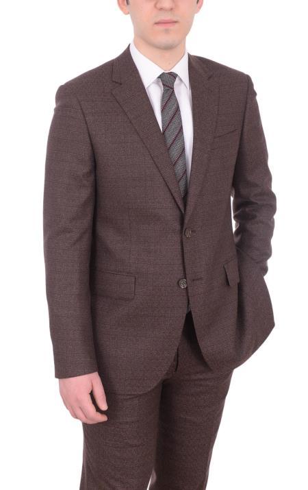 Brown Window Pane Plaid 2 button Wool suit