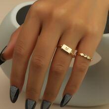 2 piezas anillo con diseño geometrico con diseño de letra