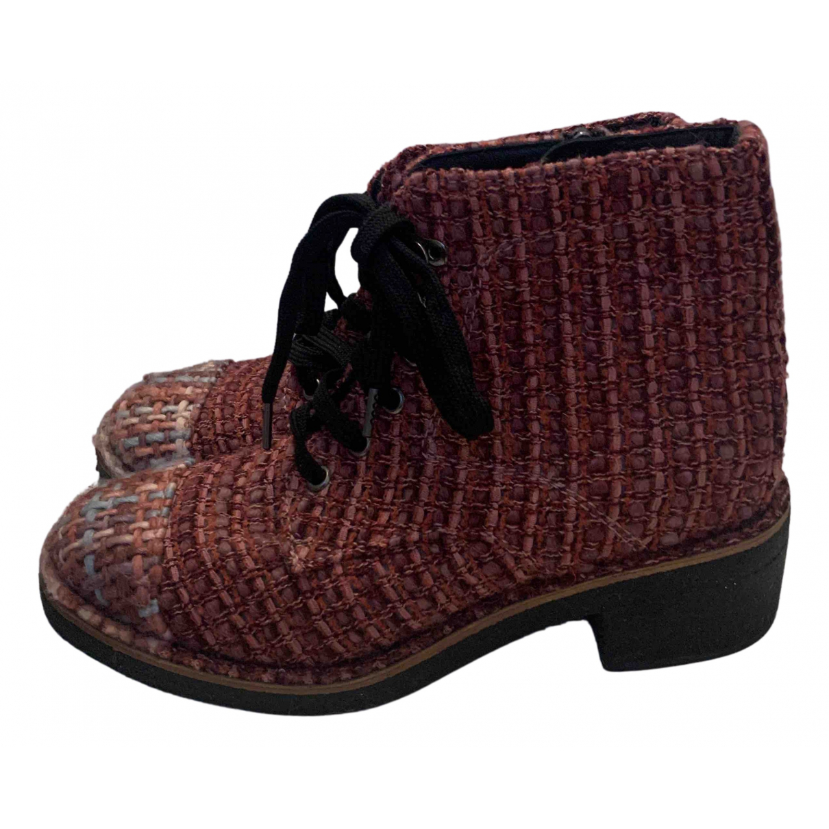 Chanel N Pink Tweed Ankle boots for Women 37.5 EU