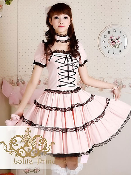 Milanoo Sweet Lolita Dress OP Princess Pink Tiered Lace Cotton Lolita One Piece Dress