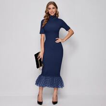 Form Fitting Dot Mesh Hem Dress
