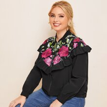 Plus Floral Embroidered Ruffle Trim Bomber Jacket