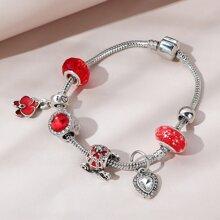 Rhinestone Decor Heart Charm Bracelet