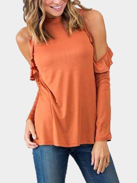 Yoins Orange Cold Shoulder Frills Design Top