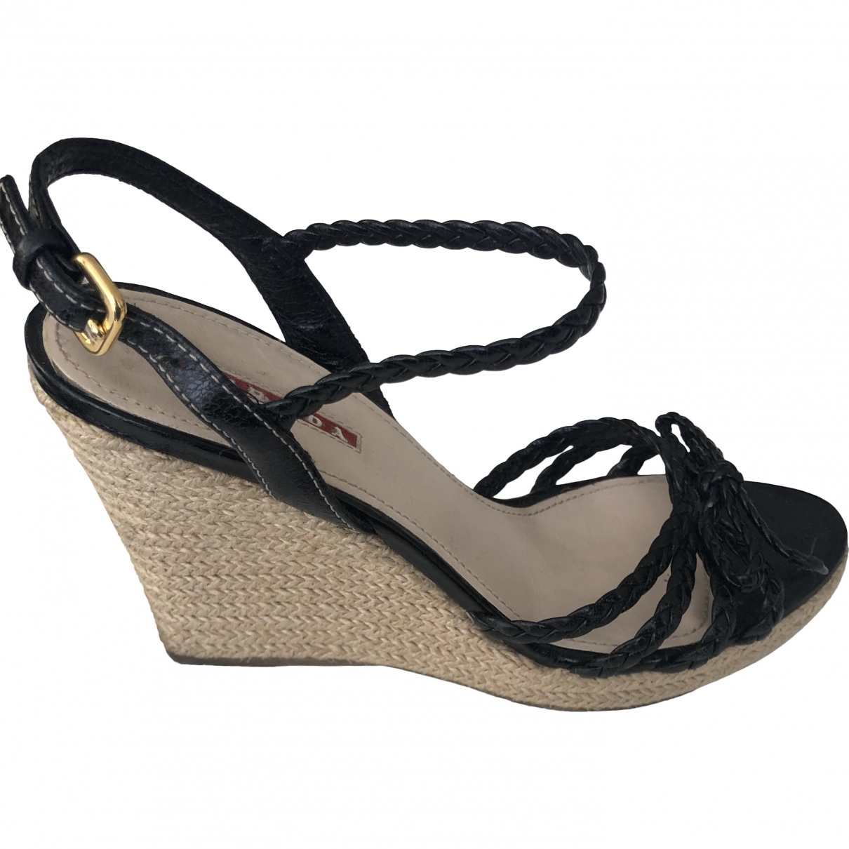 Prada - Sandales   pour femme en cuir - noir