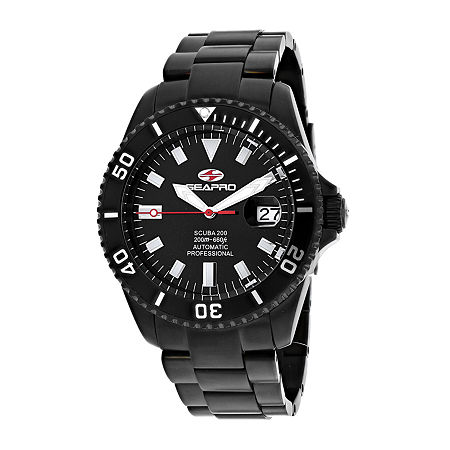 Sea-Pro Mens Automatic Black Stainless Steel Bracelet Watch-Sp4328, One Size , No Color Family