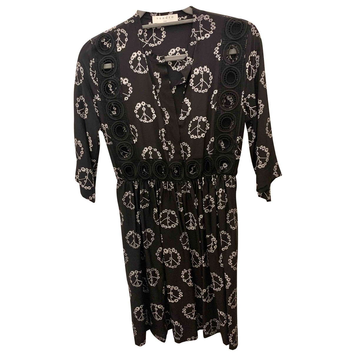 Sandro \N Black Silk dress for Women 2 0-5