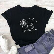 T-Shirt mit Lowenzahn und Buchstaben Grafik