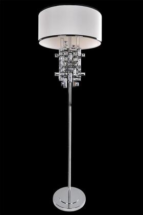 Vermeer 027601-038-FR001 3-Light Floor Lamp in Brushed Champagne Gold Finish with Firenze Clear