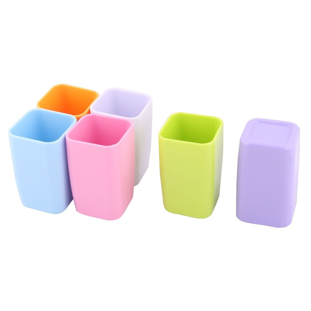 Washroom Plastic Toothbrush Holder Teeth Washing Cups Assorted Color 300ml 6pcs - Assorted Color (Assorted Color)