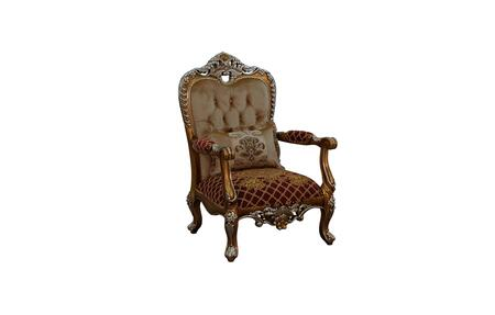 Saint Germain Collection Luxury Accent Chair  Hand Made & Carved into Mahogany Wood Solid  Individual Nail Head Trim  in Red Gold