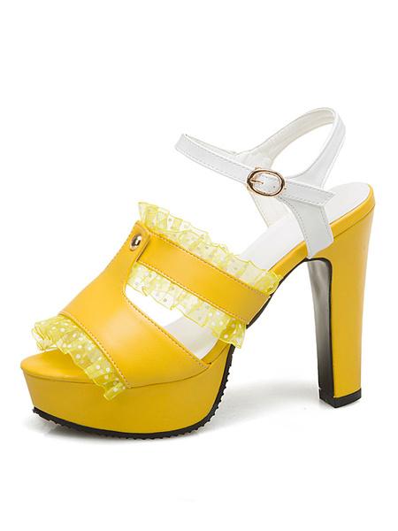 Milanoo Platform High Heel Sandals Womens Lace Fringe Peep Toe Slingback Chunky Heel Sandals