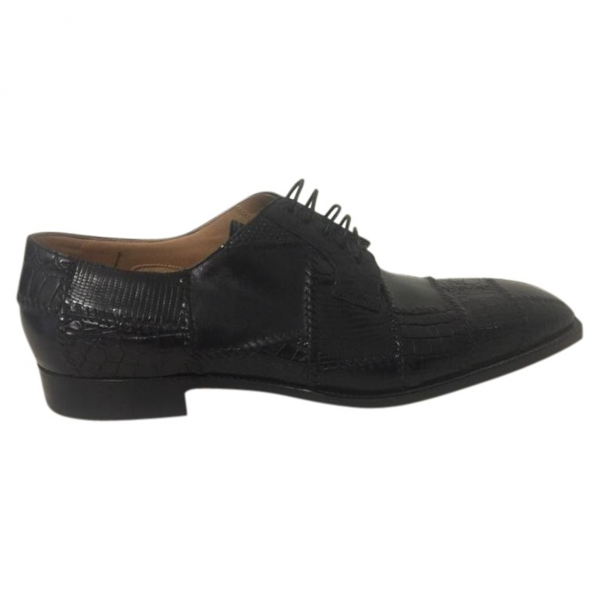 Non Signé / Unsigned \N Black Python Lace ups for Men 43 EU