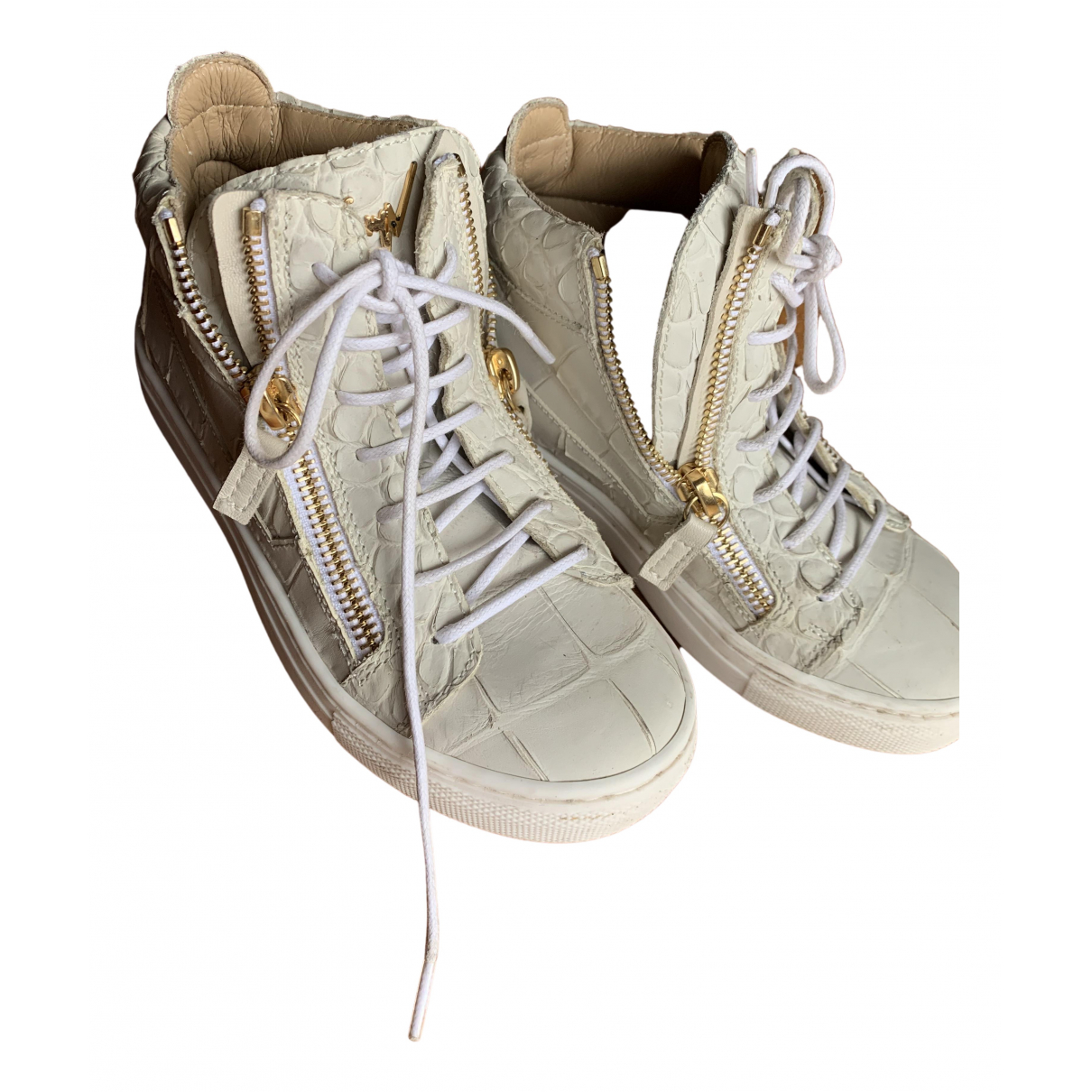 Giuseppe Zanotti - Baskets   pour enfant en cuir - blanc