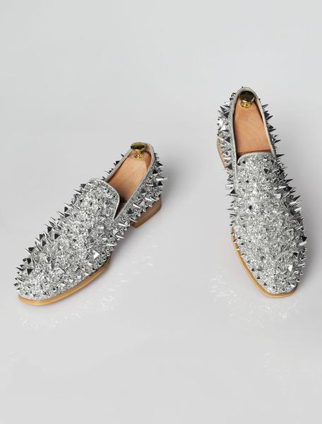 Milanoo Mocasines de los hombres de plata lentejuelas remaches punta redonda resbalon en los zapatos zapatos formales