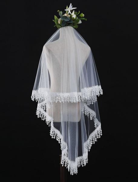Milanoo Ivory Wedding Veil Tulle One Tier Lace Applique Bridal Veils