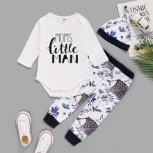 Baby Boy Letter Graphic Tee Bodysuit & Plants Print Sweatpants & Hat