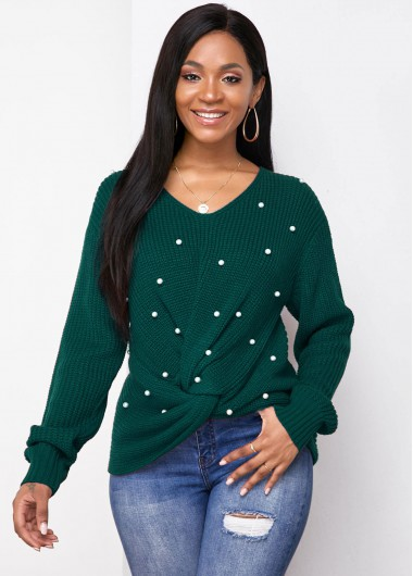 Christmas Rosewe Holiday Top Twist Front Tie Back Long Sleeve Sweater - M