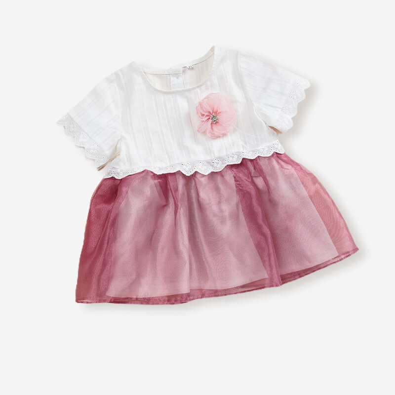 Baby Girl's Flower Lace Tulle Patchwork Dress For 3-18M