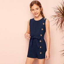 Girls Button Front Self Belted Romper