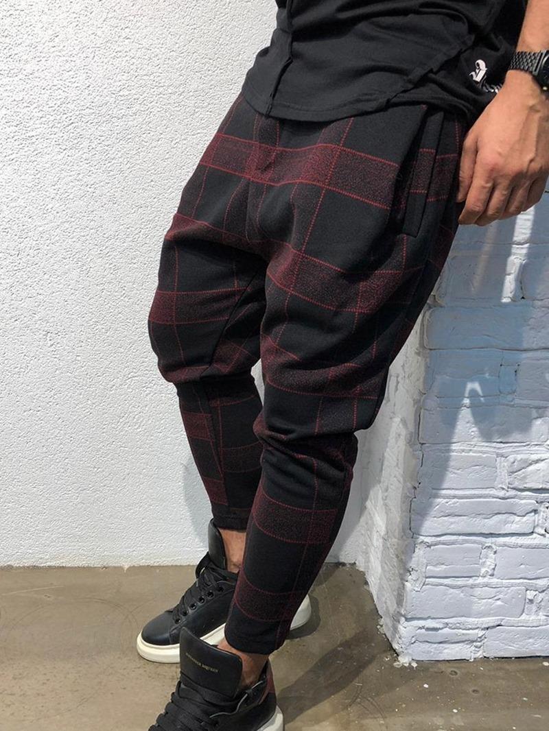 Ericdress Pencil Plaid Print Mid Waist Style Men's Casual Pants