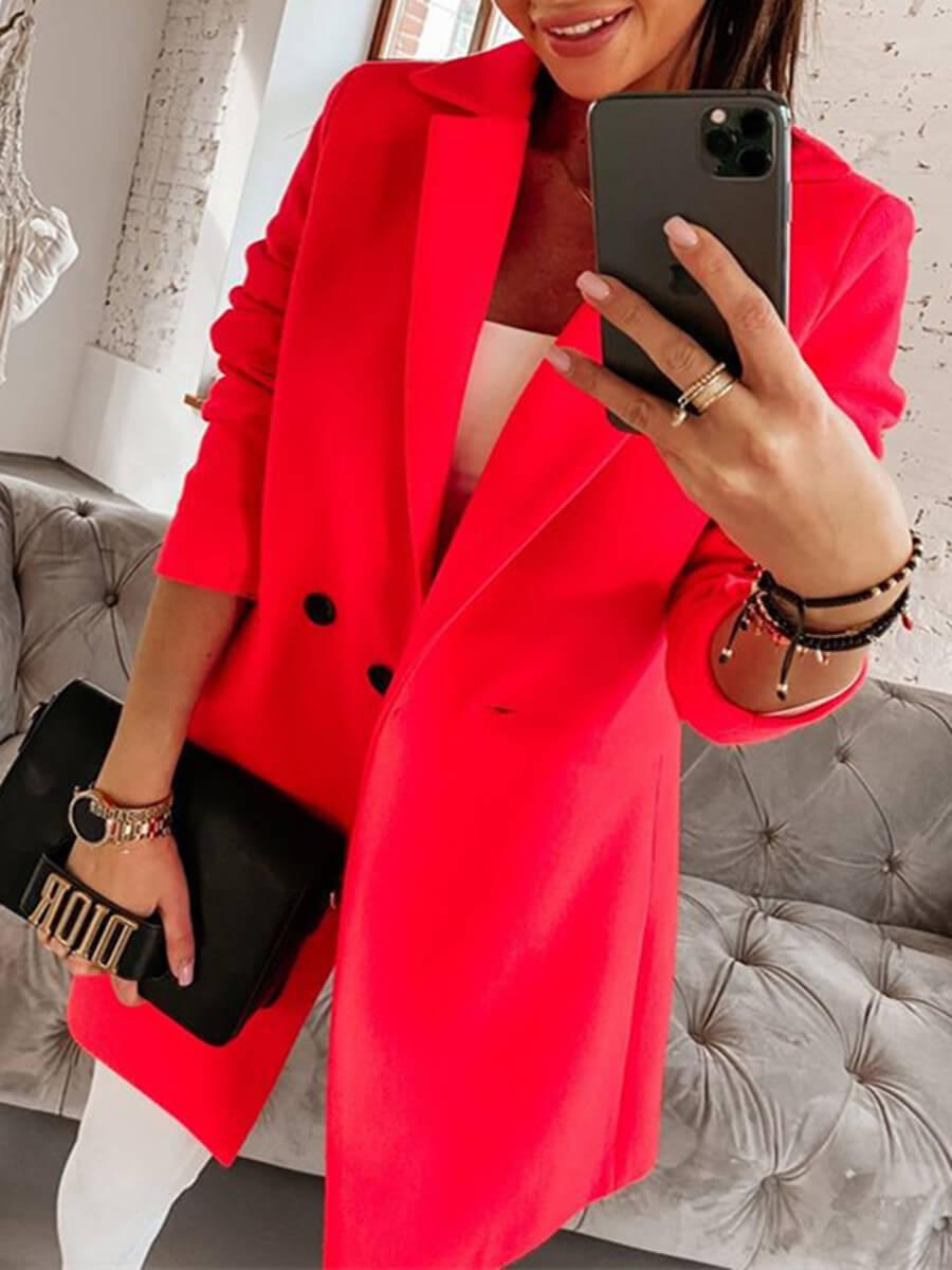 LW Lovely Trendy Turndown Collar Button Design Red Trench Coat