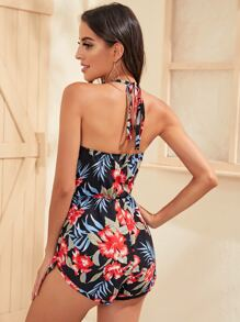 Tropical Print Tie Front and Back Halter Romper