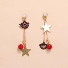 Star Charm Mismatched Drop Earrings