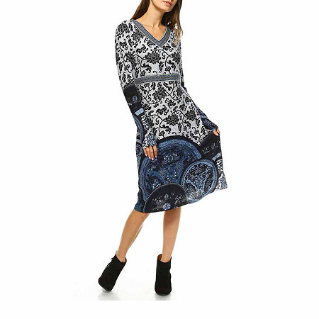 White Mark Naarah Embroidered Long Sleeve Sweater Dress, Large , Blue