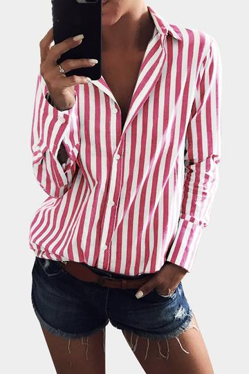 Yoins Red Stripe Shirt With Irregular Hem