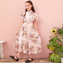 Kleid mit mehrschichtiger Raffung, Armloch und Blumen Muster