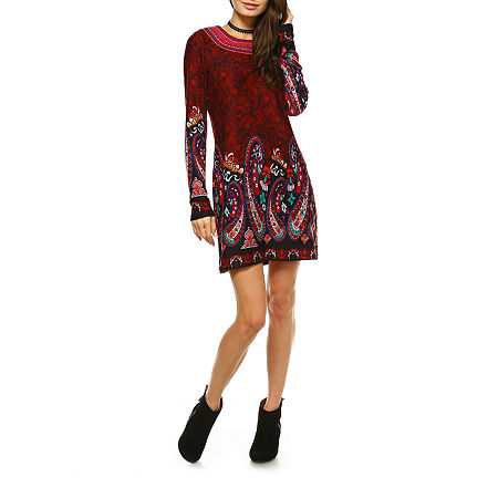 White Mark Sandrine Embroidered Sweater Dress, Small , Red