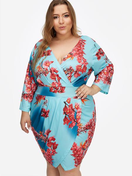 Yoins Plus Size Blue Floral Print V-neck Slit Design Dress